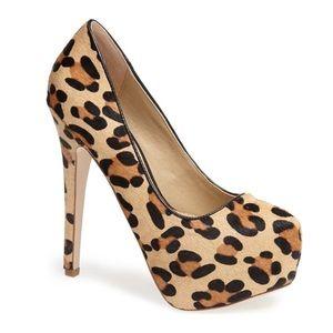 Steve Madden Platform Pump Leopard Calf Heel 7